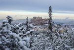 Athens in snow