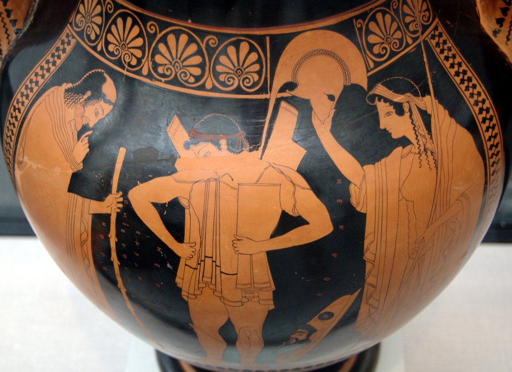 Hector arming himself with Priam and Hecuba looking on