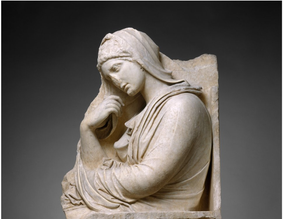 Marble stele of a woman